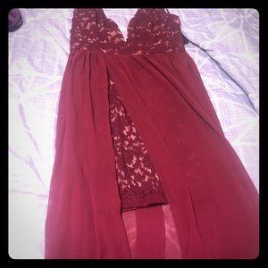 Maroon semi formal maxi dress